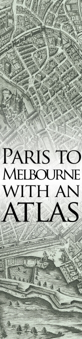 Invitation art - Paris to Melbourne with an Atlas
