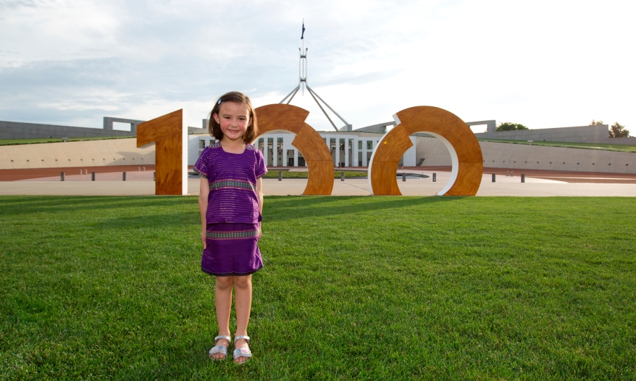 Centenary of Canberra sign outside Parliament House, Canberra. Picture by Belinda Pratten