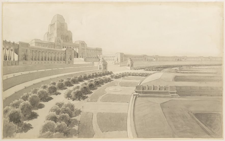 Perspective view Houses of Parliament and Lake - side - jpg